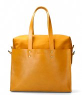 Shabbies Handbag L Nat Dyed Smooth Leather With Canvas yellow
